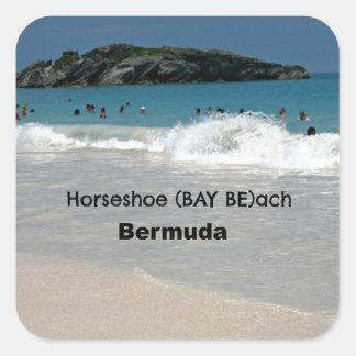 Playa de la BAHÍA Bermudas de herradura Calcomania Cuadradas