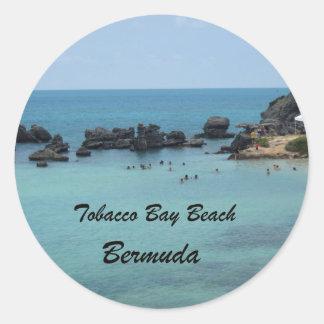 Playa de la bahía del tabaco Bermudas Pegatina Redonda