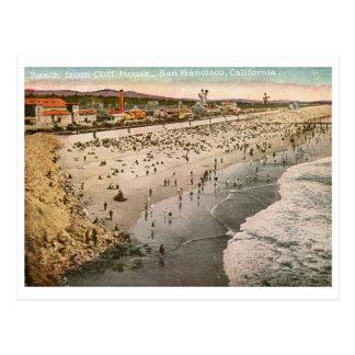 Playa de la casa del acantilado, vintage de San Fr Tarjeta Postal