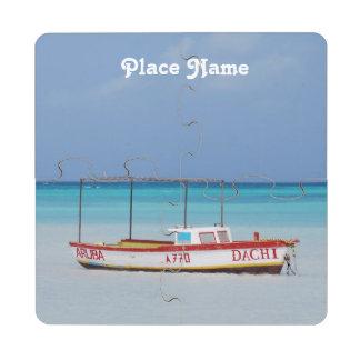 Playa de la choza del pescador posavasos de puzzle