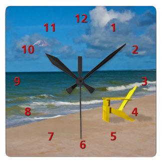 Playa de la Costa del Golfo de la Florida con la s Reloj Cuadrado
