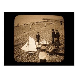 Playa de la diapositiva de linterna mágica en postales