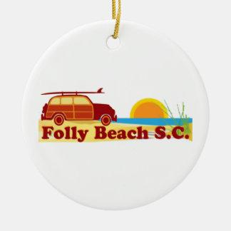 Playa de la locura adorno navideño redondo de cerámica