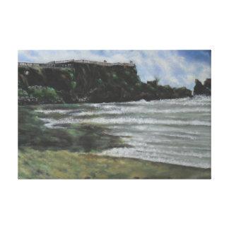 Playa de la mañana impresión en lienzo
