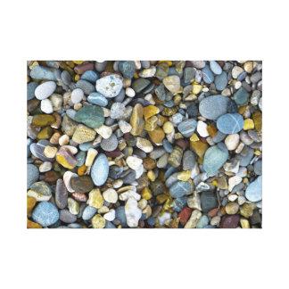 playa de la naturaleza del guijarro impresión en lona