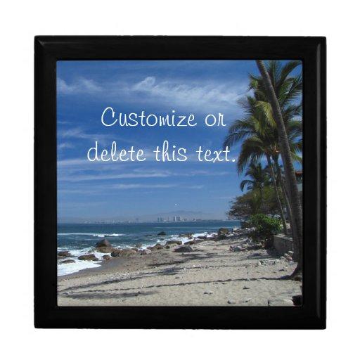 Playa de la palmera; Personalizable Caja De Recuerdo
