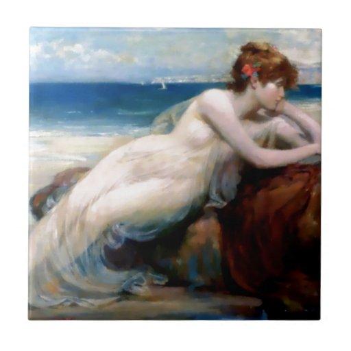 Playa de la playa de la mujer azulejo