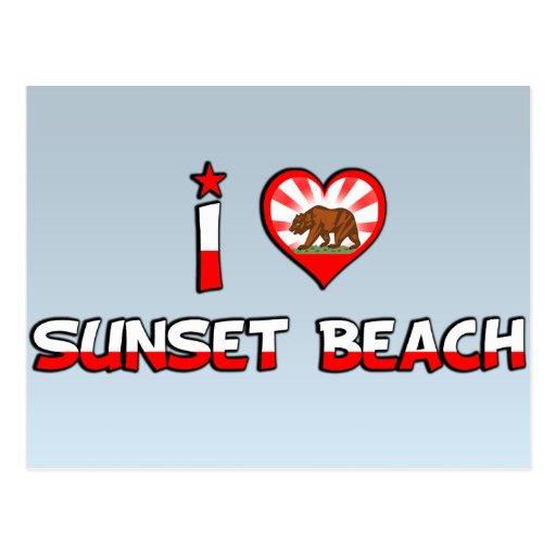 Playa de la puesta del sol, CA Tarjeta Postal