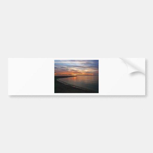 Playa de la puesta del sol etiqueta de parachoque