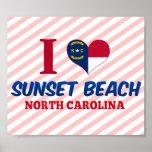 Playa de la puesta del sol, Carolina del Norte Poster