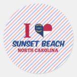 Playa de la puesta del sol, Carolina del Norte Etiqueta Redonda
