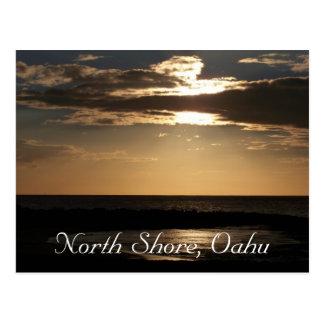Playa de la puesta del sol, Oahu Tarjeta Postal