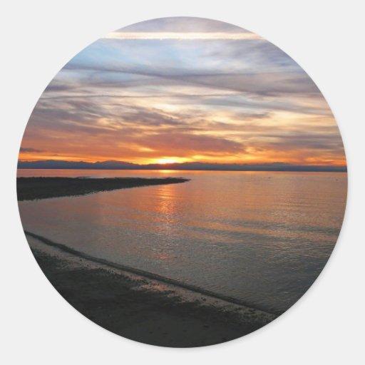 Playa de la puesta del sol pegatinas redondas
