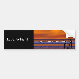 Playa de la puesta del sol - pesca pegatina de parachoque
