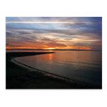 Playa de la puesta del sol postales