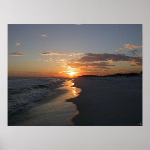 Playa de la puesta del sol posters