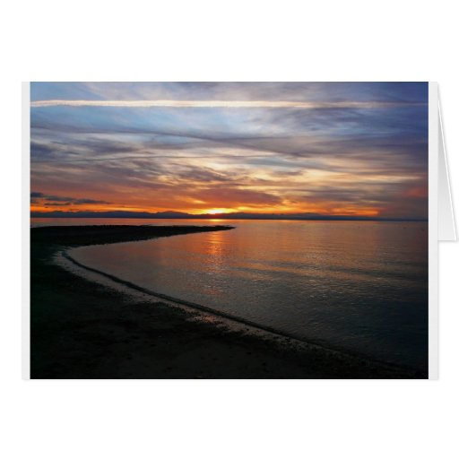 Playa de la puesta del sol tarjetas