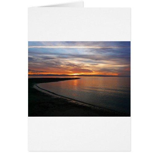 Playa de la puesta del sol felicitaciones