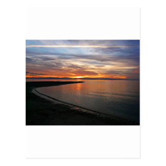 Playa de la puesta del sol tarjetas postales