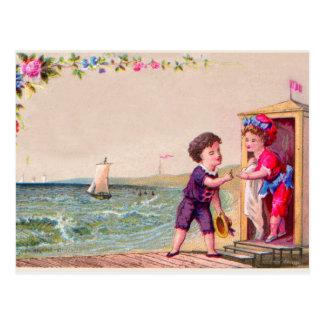 Playa de la tarjeta de felicitación del arte del v tarjetas postales