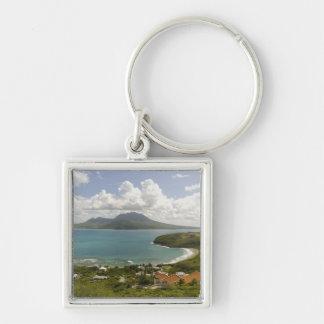 Playa de la tortuga, península suroriental, St San Llavero Cuadrado Plateado