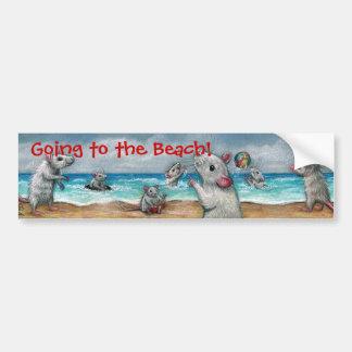 ¡Playa de las ratas, yendo a la playa! Pegatina pa Pegatina Para Auto