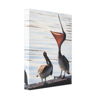 Playa de los animales de la fauna de los pájaros impresión en lienzo