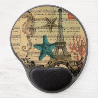 playa de los seashells de la torre Eiffel de París Alfombrillas Con Gel