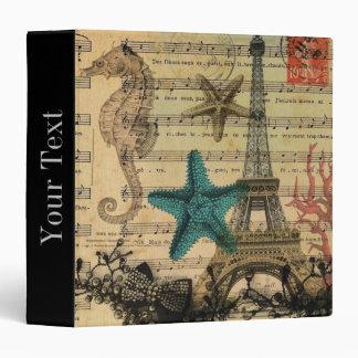 """playa de los seashells de la torre Eiffel de París Carpeta 1 1/2"""""""