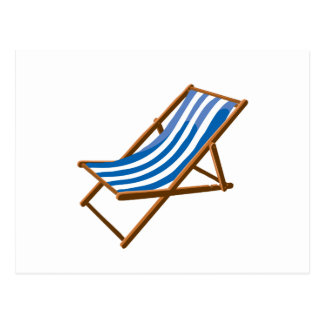 playa de madera rayada azul chair.png postal