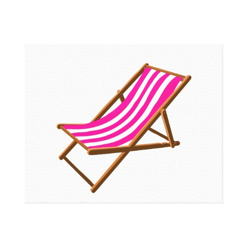 playa de madera rayada chair.png del fuschia impresión en lienzo