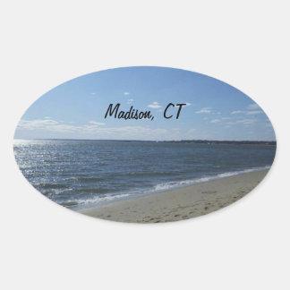 Playa de Madison CT Connecticut Hammonasset Pegatina Ovalada