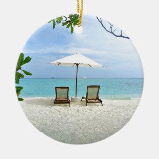 Playa de Maldivas Adorno Navideño Redondo De Cerámica
