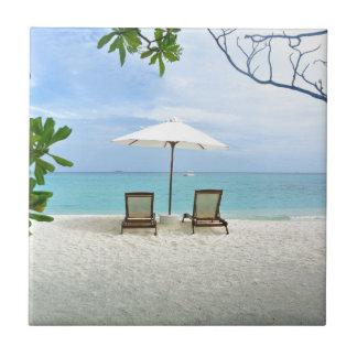 Playa de Maldivas Azulejo Cuadrado Pequeño