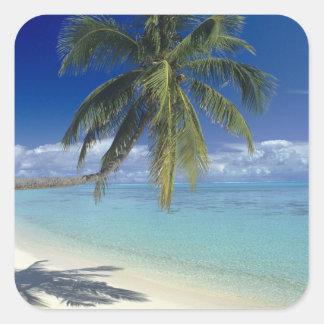 Playa de Matira en la isla de Bora Bora, sociedad Pegatina Cuadrada