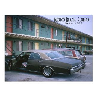 Playa de México postal retra del motel de la Flor