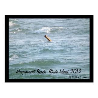 Playa de Misquamicut, Rhode Island después del hur Tarjetas Postales