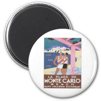 Playa de Monte Carlo del vintage Imán Redondo 5 Cm