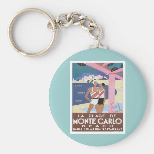 Playa de Monte Carlo del vintage Llavero Redondo Tipo Pin