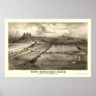 Playa de Nantasket, mapa panorámico del mA - 1879 Póster