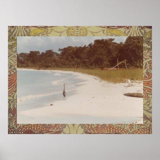 Playa de Negril antes de la impresión 1984 de la l Poster
