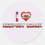 Playa de Newport, CA Etiqueta Redonda