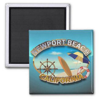 Playa de Newport, California Imán Cuadrado