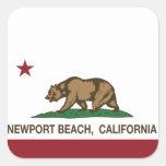 Playa de Newport de la bandera del estado de Pegatina Cuadrada
