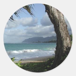 Playa de Oahu Pegatina Redonda