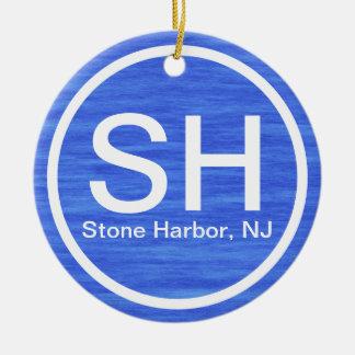 Playa de piedra SH personalizada de New Jersey del Adorno Navideño Redondo De Cerámica