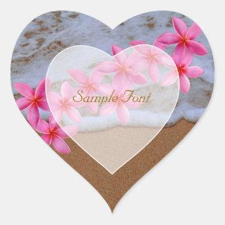 Playa de PixDezine+plumeria rosado Pegatina De Corazon Personalizadas