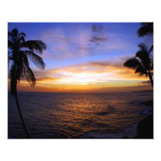 Playa de Poipu de la puesta del sol de Hawaiin Cojinete