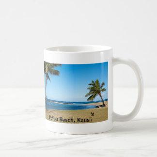 Playa de Po'ipu, recuerdo de Kaua'i Taza Básica Blanca