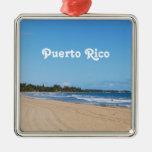 Playa de Puerto Rico Adorno Navideño Cuadrado De Metal